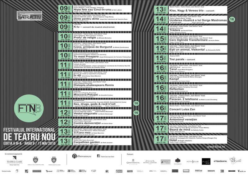 Festivalul Internațional de Teatru Nou Arad, 2015