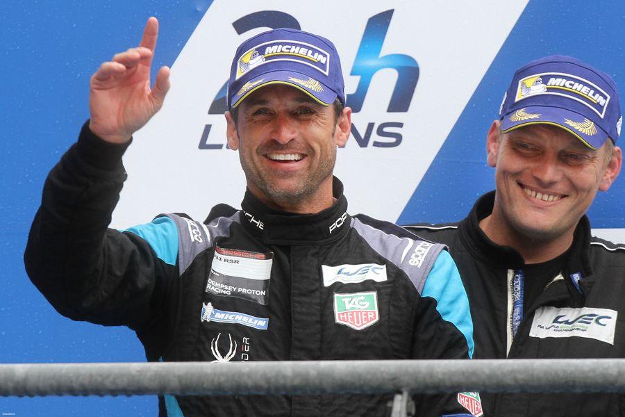 Actorul Patrick Dempsey, pe podiumul cursei de la Le Mans