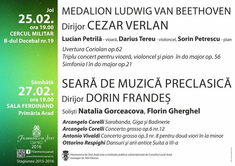 Filarmonica de Stat Arad : Un Medalion Beethoven de excepție, joi seara, sub bagheta lui Cezar-Mihail Verlan