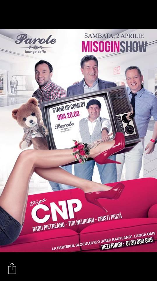 Stand-up comedy cu CNP: Misogin Show! la Parole Caffe!